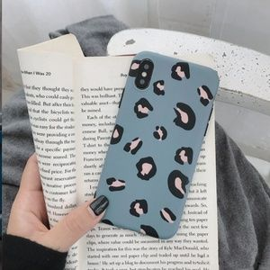 Accessories - iPhone XR Blue Leopard Print Cell Phone Case Cover